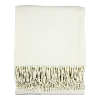 Ecru, White Italian Solid Throw For Sale