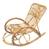 Image of 1970s Vintage Rattan Franco Albini Style Rocker For Sale