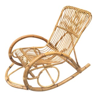 1970s Vintage Rattan Franco Albini Style Rocker For Sale