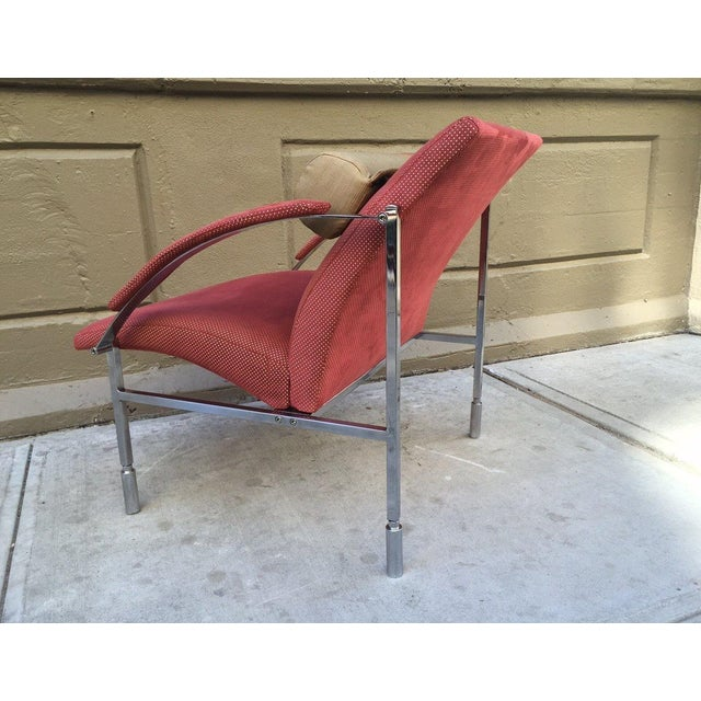 Pair of Italian chrome lounge chairs. The frame is steel and chrome-plated. The headrest is detachable. Original fabric.