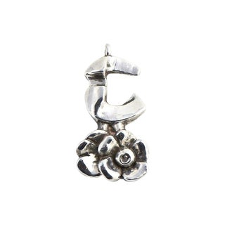 20th Century Brutalist Sterling Flower Pendant by Artist Rachel Gera For Sale
