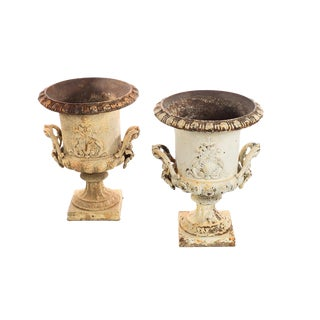 19th Century Antique French Cast Iron Garden Urns - a Pair For Sale