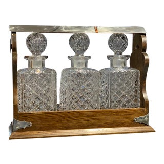 19th Century English Oak Tantalus Decanter Set For Sale