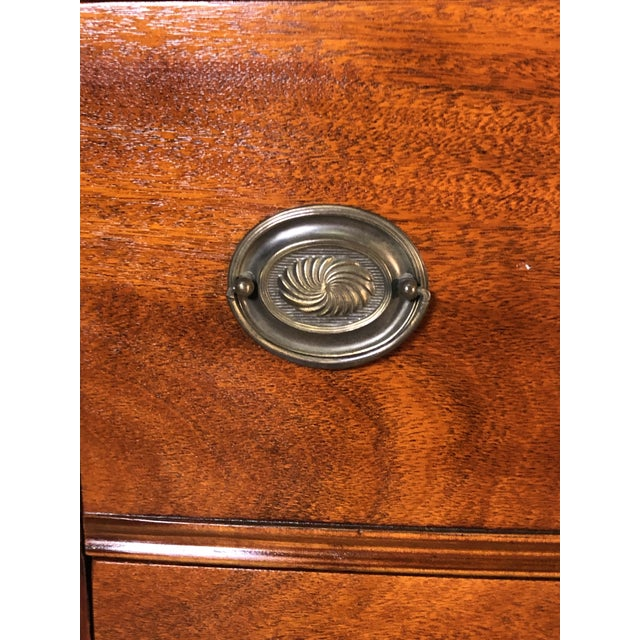 Wood Vintage Mahogany Bow Front Low Dresser For Sale - Image 7 of 11