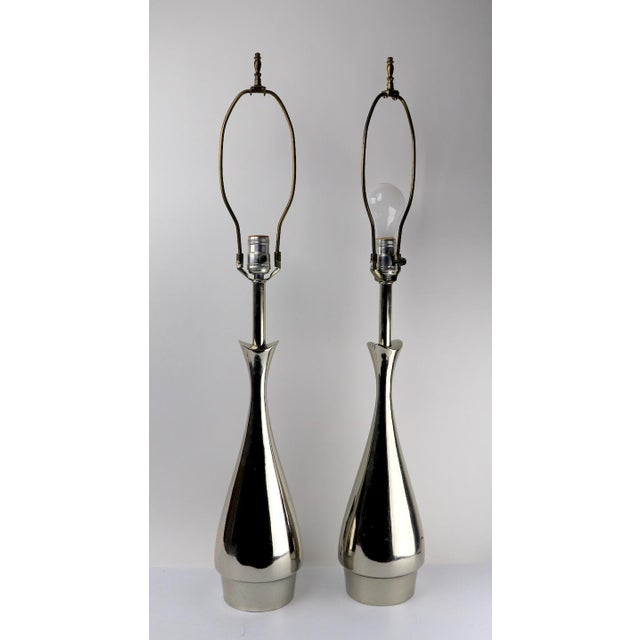 Metal Pair of Teardrop Form Laurel Lamps Attributed to Tony Paul For Sale - Image 7 of 11