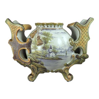 19th Century French Provencial St. Clement Luneville Triple Tulip Faience Pottery Vase