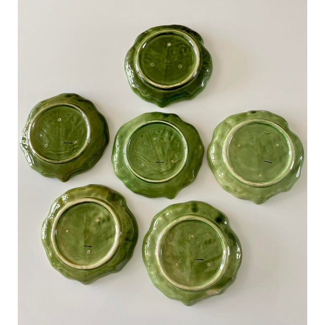 Mid 20th Century Mid 20th Century Green Cabbage Leaf Plates Portugal - Set of 6 For Sale - Image 5 of 13