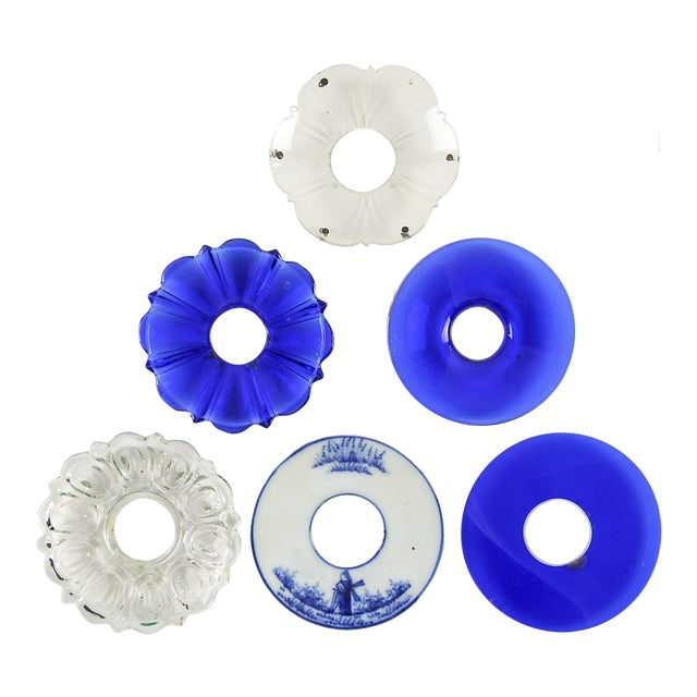 Mixed Blue & Clear Bobeches - Set of 6 For Sale