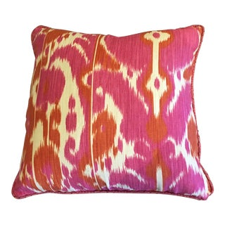 Asian Custom Schumacher Ikat Pillow For Sale