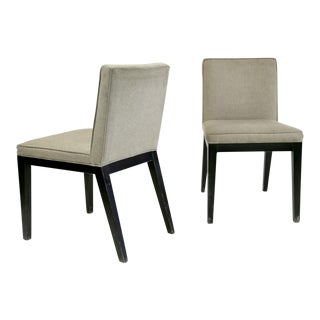Grey Upholstered Side Chairs With Wenge Hardwood Legs - a Pair