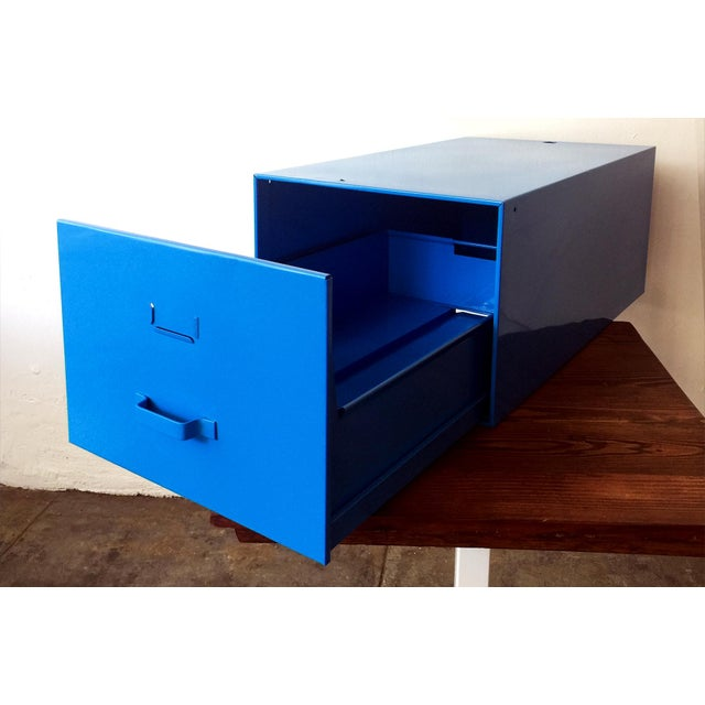 Refinished Mid Century Industrial Royal Blue File Drawer