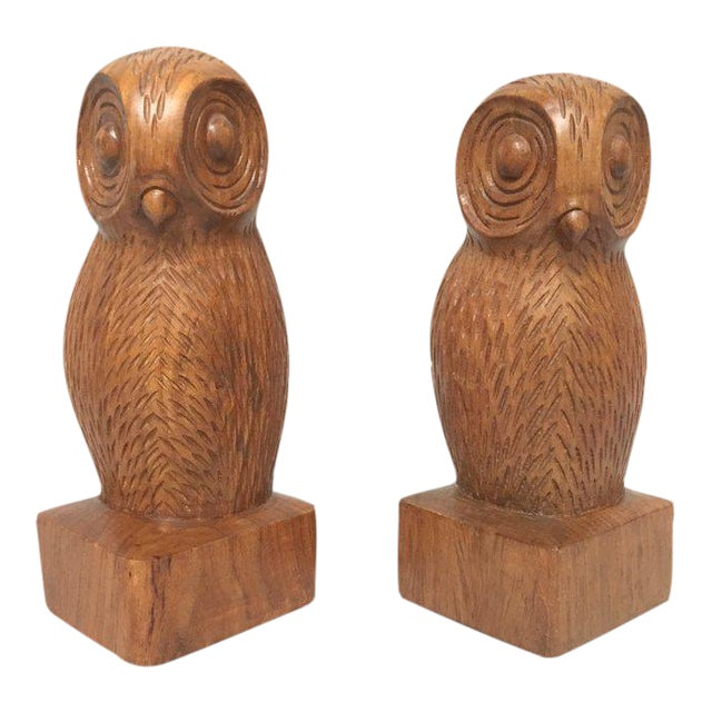 Hand Carved Wood Owl Bookends - a Pair For Sale