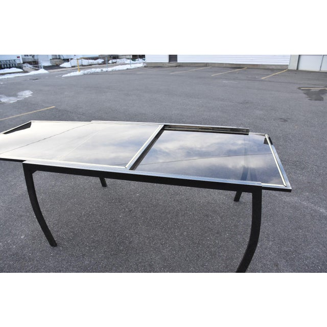 Dia Gunmetal Chrome Modern Dining Table For Sale - Image 4 of 11