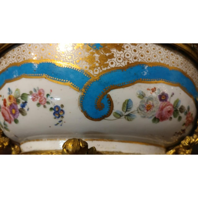 Bronze 19th century Beautiful French Sevre Porcelain & Gilt Bronze Center piece For Sale - Image 7 of 10