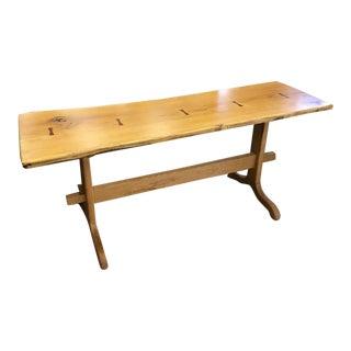 Primitive Style White Oak Console Table For Sale