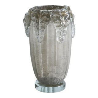 Pair of Gray Murano Vases With Acanthus Leaf Detail by Sergio Costantini, Signed For Sale