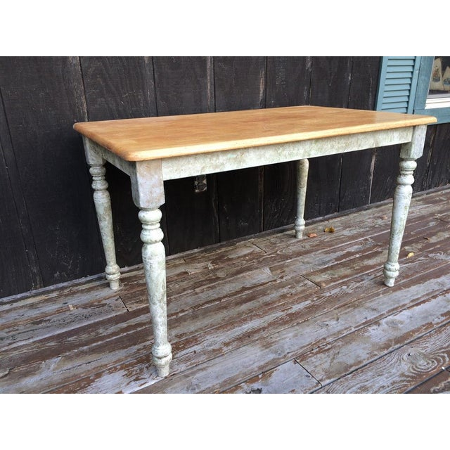 Country Shabby Chic Farm Table - Oak Top For Sale - Image 3 of 11