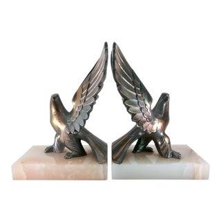 Vintage Brass Eagle Statues on Marble Base - Set of 2 For Sale
