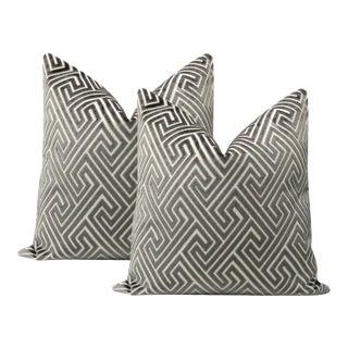 """22"""" Graphite Roman Cut Velvet Pillows - a Pair For Sale"""