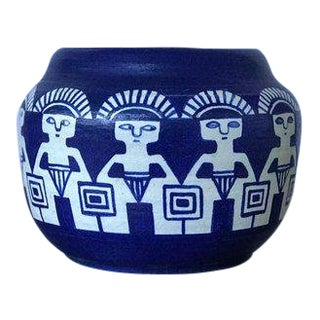 Blue Studio Pottery Planter Vase Bowl For Sale