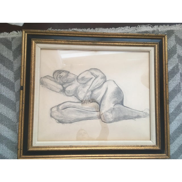 """Drawing/Sketching Materials Vintage Large Mid-Century Art Deco Abstract """"Laying Woman Figure Nude"""" Pencil Drawing For Sale - Image 7 of 9"""