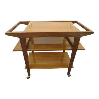 French Mid-Century Modern Walnut Bar Cart/ Trolley/ Server/ Biblio, Andre Sornay For Sale