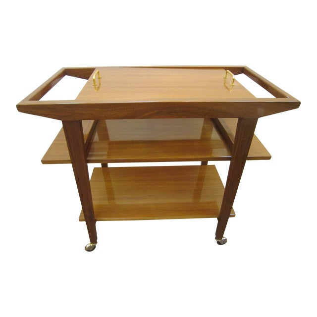 French Mid-Century Modern Walnut Bar Cart Trolley/ Server/ Biblio, Andre Sornay For Sale