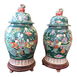 Asian Style Lidded Jars - A Pair
