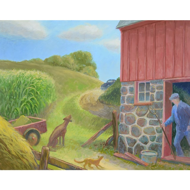 """Randall Berndt (Wisconsin, b. 1944) """"The Bachelor Farmer"""", 1996, acrylic on board, framed in painted wood frame. Titled,..."""
