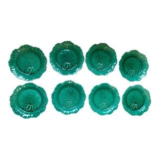 Wedgwood Majolica Leaf Plates - Set 8 For Sale