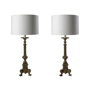 Gold Candlestick Lamps - A Pair For Sale