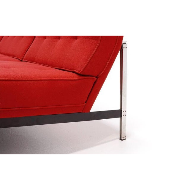 Chrome Florence Knoll Parallel Bar Three-Seat Armless Sofa Red Wool Fabric For Sale - Image 7 of 8