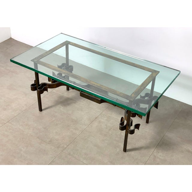 Brutalist Spanish Gilded Iron Glass Coffee Table, Circa 1950's For Sale In Detroit - Image 6 of 10