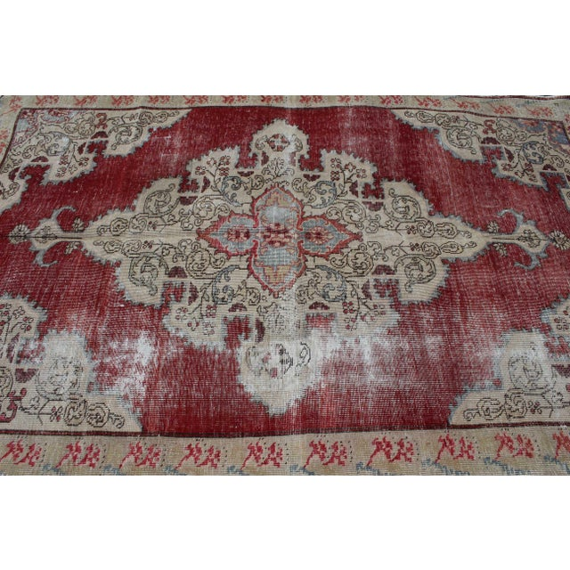 1960s Vintage Turkish Anatolian Handmade Home Decorative Red Color Area Size Rug- 5′7″ × 8′3″ For Sale - Image 5 of 9