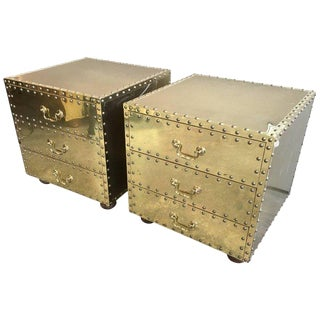 Pair of Brass Three-Drawer Chests For Sale