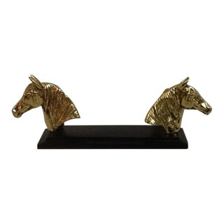 Equestrian Black and Brass Business Card Holder For Sale