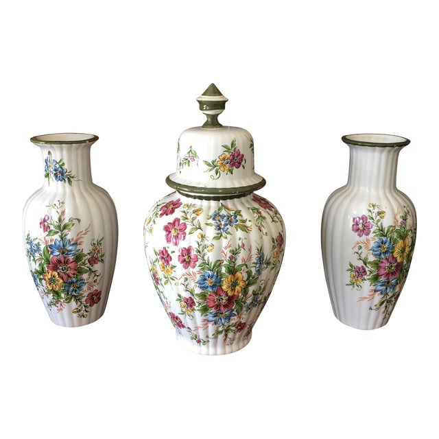 Floral Dutch Collection of Ceramic Vases - Set of 3 For Sale