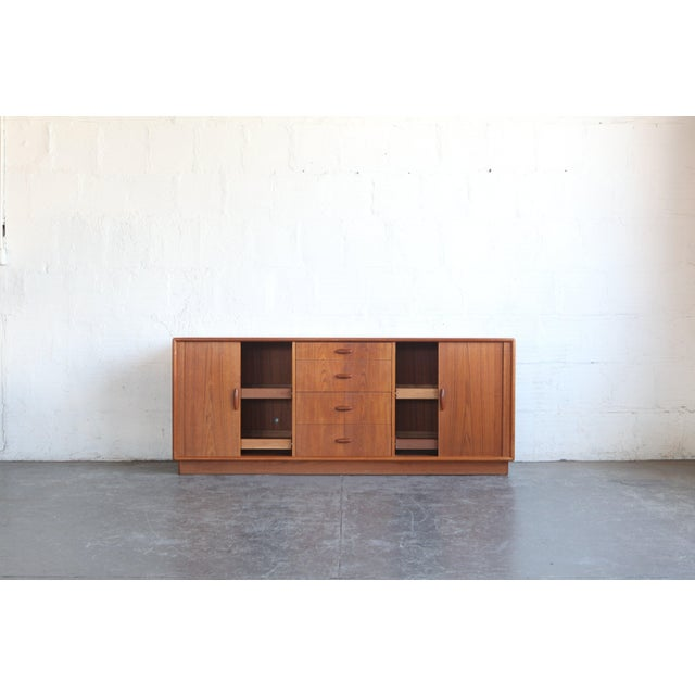 Mid-Century Modern 1950s Mid-Century Modern Dyrlund Credenza With Tambour Doors For Sale - Image 3 of 8