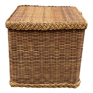 Vintage Thick Rattan Cube Table For Sale