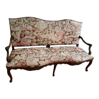 Antique Late 1800s European Needlepoint Settee For Sale