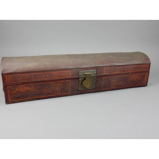 Antique Chinese Pig Skin Scroll Box With Key For Sale - Image 9 of 13