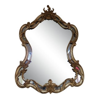 Vintage La Barge French Style Carved Wood Gold Gilt Mirror For Sale