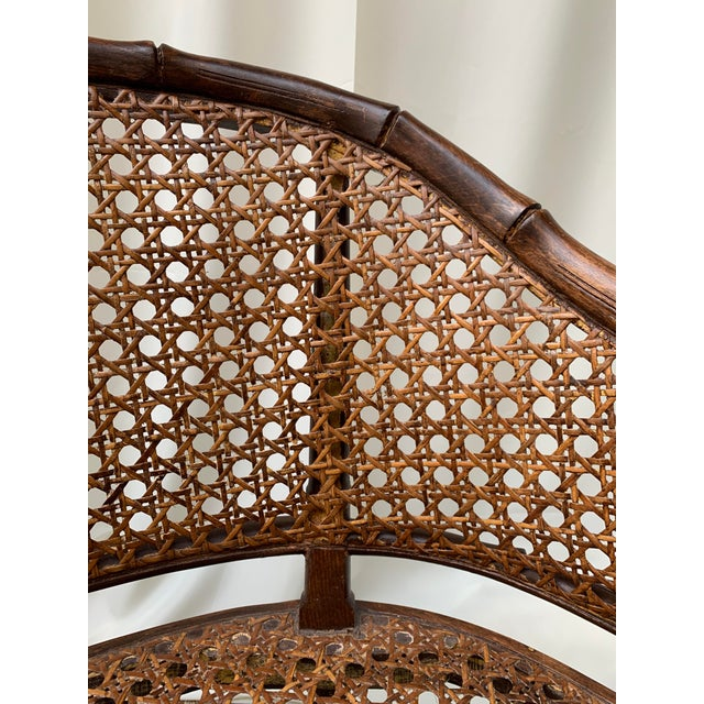 Wicker Mid 20th Century Hollywood Regency Chippendale Style Faux Bamboo and Cane Settee For Sale - Image 7 of 10