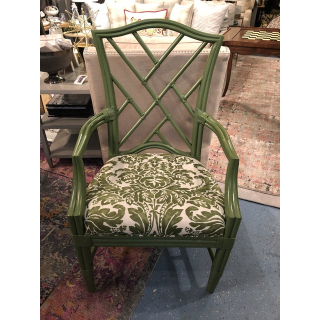 Fun and playful bamboo accent chair in green paint and large scale damask pattern. Perfect for filling a corner of any...