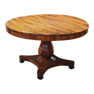 English Zebra Wood Round Center Table For Sale