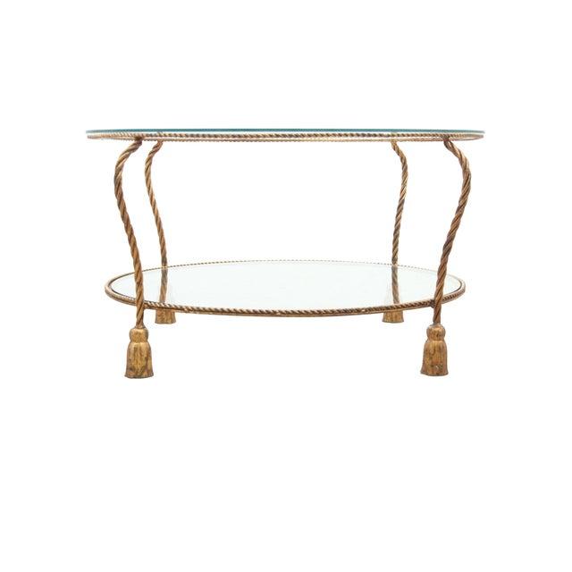 Hollywood Regency Gilt Rope Side Table - Image 2 of 6