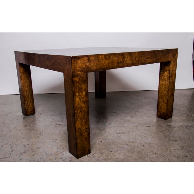 Contemporary 1970s Hollywood Regency Burl Wood Coffee Table For Sale - Image 3 of 4