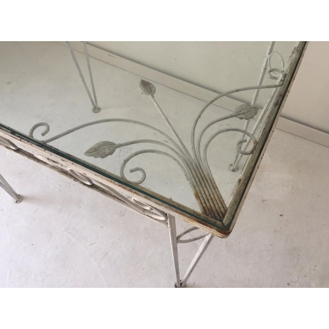 C.1970 Apartment Size Wrought Iron Glass Top Table For Sale - Image 4 of 7