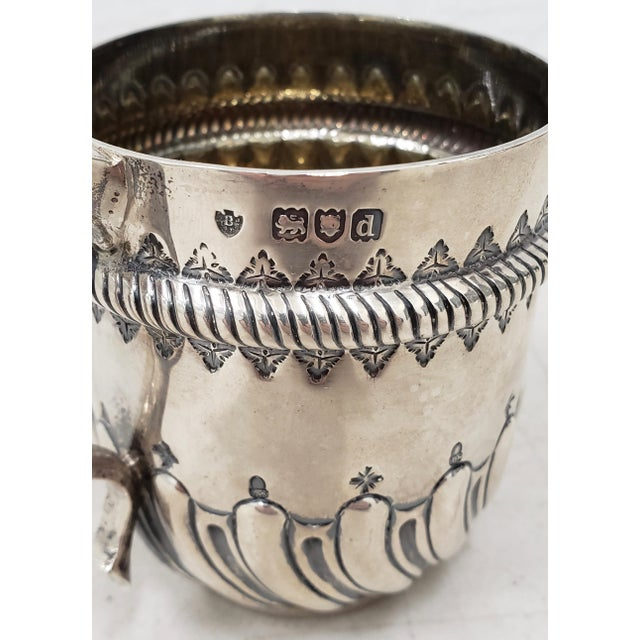 Late 19th Century Hand Tooled Sterling Silver Christening Cup c.1897 Beautiful hand tooled sterling silver cup. The cup...