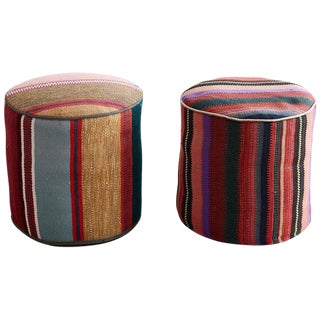 Pair of Turkish Kilim Striped Pouf Ottomans